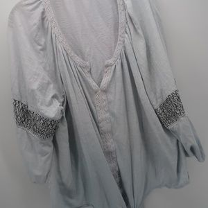 New Directions 3/4 Sleeve Tie Front Peasant Blouse